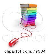 Royalty Free RF Clipart Illustration Of A Red Computer Mouse Connected To A Stack Of 3d Colorful Literature Text Books