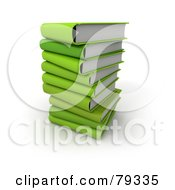 Royalty Free RF Clipart Illustration Of A Stack Of 3d Green Literature Text Books