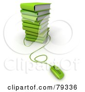 Royalty Free RF Clipart Illustration Of A Computer Mouse Connected To A Stack Of 3d Green Literature Text Books