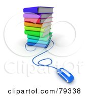 Royalty Free RF Clipart Illustration Of A Blue Computer Mouse Connected To A Stack Of 3d Colorful Literature Text Books