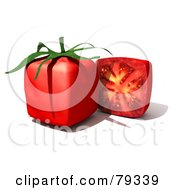 Royalty Free RF Clipart Illustration Of A 3d Half Cubic Genetically Modified Tomato By A Whole Tomato by Frank Boston