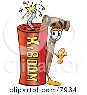 Clipart Picture Of A Mallet Mascot Cartoon Character Standing With A Lit Stick Of Dynamite by Toons4Biz