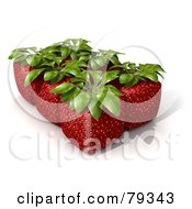 Royalty Free RF Clipart Illustration Of A Group Of Six Whole 3d Cubic Genetically Modified Strawberries