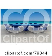 Royalty Free RF Clipart Illustration Of A Blue 3d Conference Table On A Tropical Beach by Frank Boston