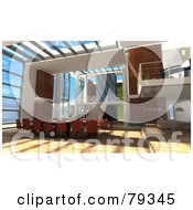 Royalty Free RF Clipart Illustration Of A 3d Modern Interior With An Office Conference Table by Frank Boston