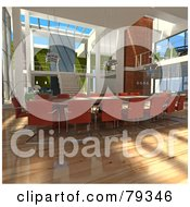 Royalty Free RF Clipart Illustration Of A 3d Modern Interior Of An Office Conference Table by Frank Boston