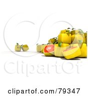 Royalty Free RF Clipart Illustration Of A 3d Group Of Whole And Halved Cubic Genetically Modified Grapefruit