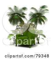 Royalty Free RF Clipart Illustration Of A Green 3d Arm Chair Under Palm Tress by Frank Boston