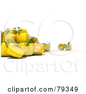 Royalty Free RF Clipart Illustration Of A 3d Group Of Whole And Halved Cubic Genetically Modified Lemons