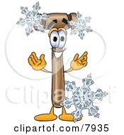 Mallet Mascot Cartoon Character With Three Snowflakes In Winter
