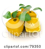 Royalty Free RF Clipart Illustration Of A 3d Half Cubic Genetically Modified Lemon By Whole Lemons by Frank Boston
