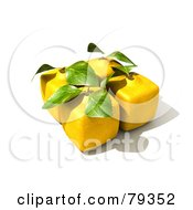Royalty Free RF Clipart Illustration Of A Group Of Four 3d Genetically Modified Cubic Lemons