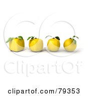 3d Row Of Round Lemons Evolving Into Cubic Genetically Modified Fruits