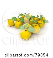 Royalty Free RF Clipart Illustration Of A 3d Group Of Yellow Cubic Genetically Modified Lemons Version 1