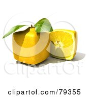 Royalty Free RF Clipart Illustration Of A 3d Half Cubic Genetically Modified Lemon By A Whole Lemon Version 2 by Frank Boston