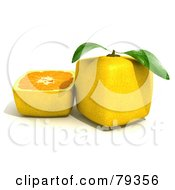 Royalty Free RF Clipart Illustration Of A 3d Half Cubic Genetically Modified Lemon By A Whole Lemon Version 1