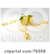 Royalty Free RF Clipart Illustration Of A 3d Cubic Genetically Modified Lemon Fruit With Three Computer Mice