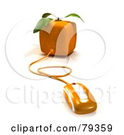 3d Cubic Genetically Modified Orange Fruit With A Computer Mouse
