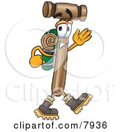 Mallet Mascot Cartoon Character Hiking And Carrying A Backpack