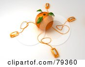 Royalty Free RF Clipart Illustration Of A 3d Orange Citrus Fruit With Connected Computer Mice Version 2