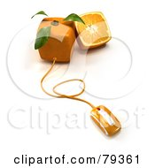 Royalty Free RF Clipart Illustration Of A 3d Whole And Halved Cubic Genetically Modified Orange Fruit With A Computer Mouse Version 2