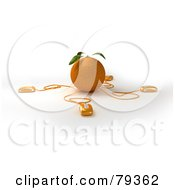 Royalty Free RF Clipart Illustration Of A 3d Orange Citrus Fruit With Connected Computer Mice Version 1