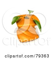 Royalty Free RF Clipart Illustration Of A 3d Twisted Genetically Modified Orange With Leaves