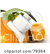 Royalty Free RF Clipart Illustration Of A 3d Cubic Genetically Modified Orange Half By Orange Textured Juice Cartons