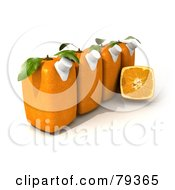 Royalty Free RF Clipart Illustration Of A Halved Cubic Genetically Modified Orange In Front Of Orange Fruit Textured Juice Cartons