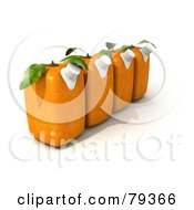 Royalty Free RF Clipart Illustration Of A Row Of Four 3d Orange Genetically Modified Juice Cartons by Frank Boston
