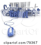 Royalty Free RF Clipart Illustration Of A 3d Blue Computer Mouse Connected To Gebot Words