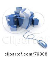 Royalty Free RF Clipart Illustration Of A 3d Computer Mouse Connected To Blue Shipping Boxes And A Globe Version 2