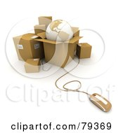 Royalty Free RF Clip Art Illustration Of A 3d Computer Mouse Connected To Shipping Boxes And A Globe Version 1