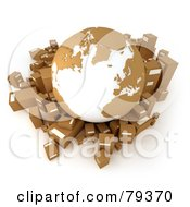 3d Brown And White Globe Over Cardboard 3d Boxes