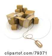 Royalty Free RF Clipart Illustration Of A 3d Computer Mouse And Cardboard Parcel Boxes Version 1 by Frank Boston