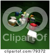 Royalty Free RF Clipart Illustration Of 3d Cubic Billard And Cue Balls