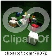 Royalty Free RF Clipart Illustration Of 3d Cubic Billard And Cue Balls by Frank Boston
