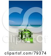 Royalty Free RF Clipart Illustration Of A Group Of Green 3d Ring Archive Binders On A Tropical Beach