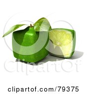 Royalty Free RF Clipart Illustration Of A 3d Half Cubic Genetically Modified Lime By A Whole Lime by Frank Boston
