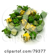 Royalty Free RF Clipart Illustration Of A Group Of Whole And Halved 3d Cubic Genetically Modified Limes And Lemons Version 2