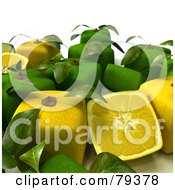 Royalty Free RF Clipart Illustration Of A Group Of Whole And Halved 3d Cubic Genetically Modified Limes And Lemons Version 1