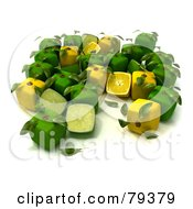 Royalty Free RF Clipart Illustration Of A Group Of Whole And Halved 3d Cubic Genetically Modified Limes And Lemons Version 3 by Frank Boston