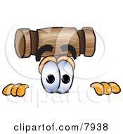 Mallet Mascot Cartoon Character Peeking Over A Surface