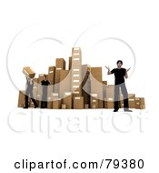 Royalty Free RF Clipart Illustration Of A 3d Warehouse Worker Team By A Stack Of Shipping Cardboard Parcel Boxes by Frank Boston