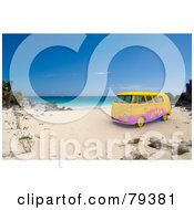 Royalty Free RF Clipart Illustration Of A Colorful 3d Hippie Van On A Tropical Beach by Frank Boston