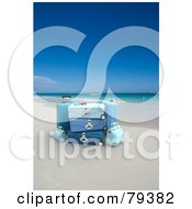 Royalty Free RF Clipart Illustration Of 3d Stacked Blue Luggage On A Tropical Beach
