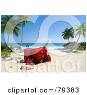 Royalty Free RF Clipart Illustration Of A Stack Of 3d Red Luggage On A Tropical Beach With Palm Trees