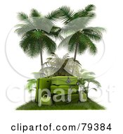 Royalty Free RF Clipart Illustration Of A Stack Of 3d Green Luggage On A Grassy Mat Under Palm Trees