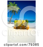 Royalty Free RF Clipart Illustration Of A Stack Of 3d Luggage On A Tropical Beach With Palm Trees