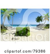 Royalty Free RF Clipart Illustration Of A Stack Of 3d Green Luggage On A Tropical Beach With Palm Trees
